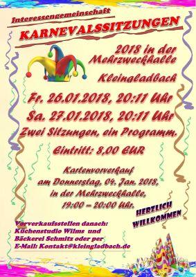 Plakat Karnevalssitzung 2018